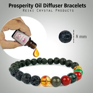 Reiki Crystal Products Essential Oil - 15 ml for Prosperity with Aroma Therapy Bracelet, Essential oil diffuser Bracelet