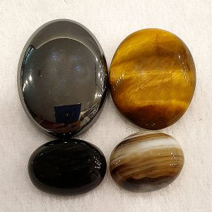 Natural Crystal Stone Cabs Set (Tiger Eye, Botswana, Black, Hematite) for Protection