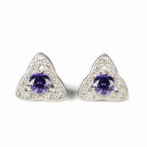 92.5 Sterling Silver Stud Earring Purple Crystal Earrings for Women and Girls