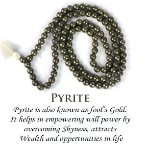Pyrite 6 mm Round Beads Mala & Necklace ( 108 Beads, 26 Inch  Approx)