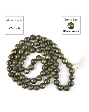 Pyrite 10 mm Faceted Bead Mala