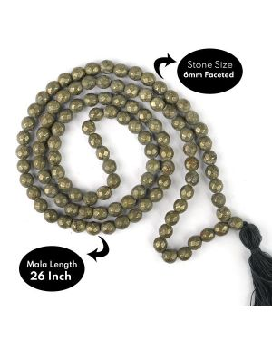 Pyrite Faceted 6 mm 108 Bead Mala