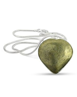 Pyrite Heart Shape Pendant Size 30-35 mm with Chain