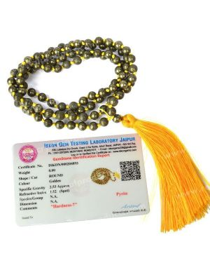 Certified Pyrite 6 mm 108 Round Bead Mala with Certificate