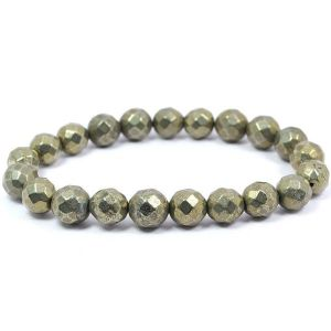 Pyrite 8 mm Faceted Bracelet
