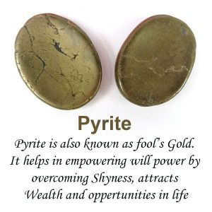 Pyrite Worry Stone Palm Stone Crystal Cabochons Oval Shape for Reiki Healing and Crystal Healing Stone Pack of 2