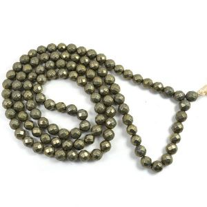 Pyrite 8 mm Diamond Cut Mala & Necklace