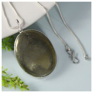 Pyrite Oval Shape Pendant With Chain
