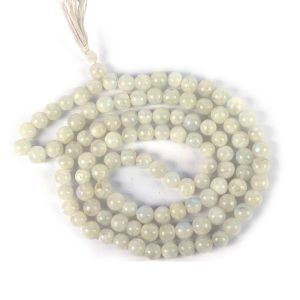 Rainbow Moonstone 8 mm Round Bead Mala & Necklace (108 Beads & 32 Inch Approx)
