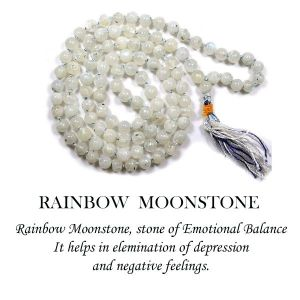 Rainbow Moonstone 6 mm Round Beads Mala & Necklace ( 108 Beads, 26 Inch  Approx)