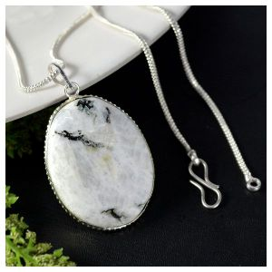 Rainbow Moonstone Oval Shape Pendant with Chain