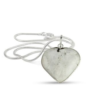 Rainbow Moonstone Heart Shape Pendant Size 30-35 mm with Chain
