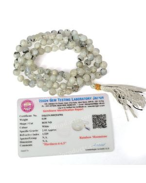 Certified Rainbow Moonstone 6 mm 108 Round Bead Mala with Certificate