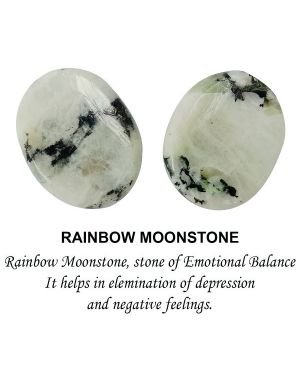 Rainbow Moonstone Worry -Palm Stone Oval Shape Cabochons Pack of 2 pc