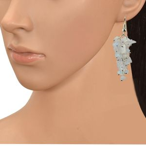 Rainbow Moonstone Crystal Earrings Natural Chip Beads Earrings for Women, Girls (Color :White)