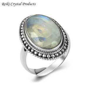 92.5 Silver Ring Rainbow Moonstone Gemstone Adjustable Ring for Unisex (Color : Multi)
