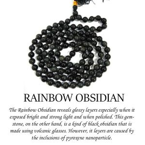 Rainbow Obsedian 6 mm Round Beads Mala & Necklace ( 108 Beads, 26 Inch  Approx)