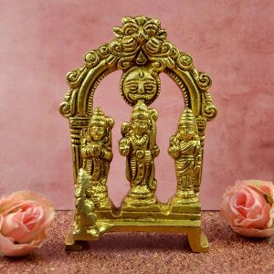 Brass Lord Ram Darbar Murti Ram Parivar Statue for Home Temple Blessing, Happiness, Health, Wealth | Small Size 4 Inch Approx