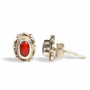 Moonga/Red  92.5 Sterling Silver Earrings Coral Gemstone Earrings (Color : Red & Silver)