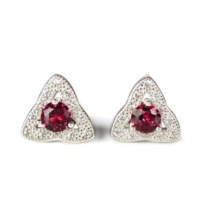 92.5 Sterling Silver Stud Earring Red Crystal Earrings for Women and Girls