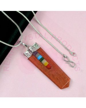 Red Aventurine  Flat Stick Pendant With Silver Polished Metal Chain