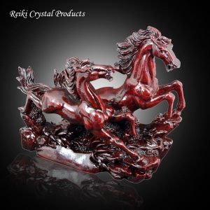 2 Red Running Horses / Victory Horses for Vastu and Feng Shui