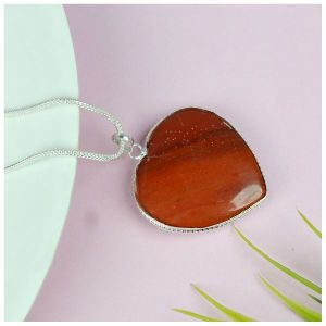 Red Jasper Heart Shape Pendant Size 30-35 mm with Metal Silver Polished Chain
