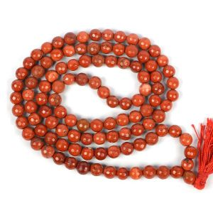 Red Jasper 8 mm Diamond Cut Mala & Necklace