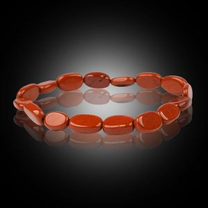 Red Jasper Oval Bead Bracelet