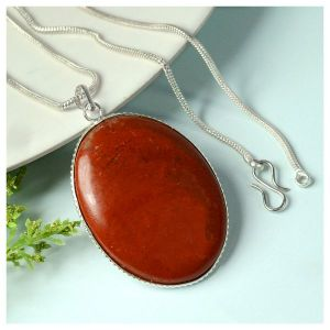 Red Jasper Oval Shape Pendant with Chain