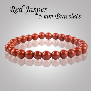 Red Jasper 6 mm Round Bead Bracelet