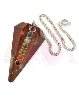 Red Jasper With 7 Chakra Six Faceted Dowser / Pendulum