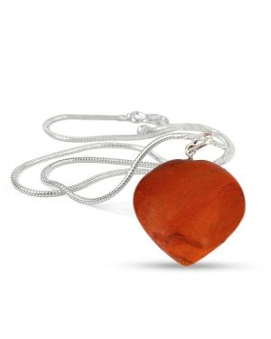 Red Jasper Heart Shape Pendant - Size 25-30mm with Metal Silver Polished Chain