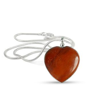 Red Jasper Heart Shape Pendant Size 30-35 mm with Chain