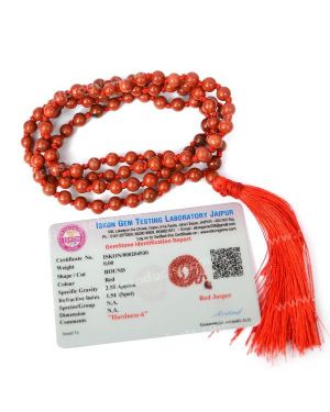 Certified Red Jasper 6 mm 108 Round Bead Mala with Certificate