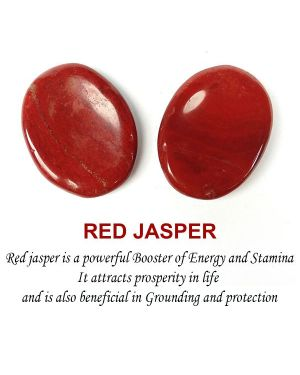 Red Jasper Worry Stone Palm Stone Crystal Cabochons Oval Shape for Reiki Healing and Crystal Healing Stone Pack of 2