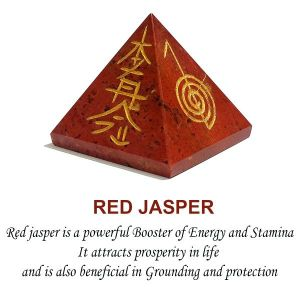 Red Jasper Reiki Symbol Engraved Pyramid 50 mm Approx