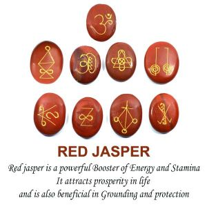 Red Jasper Karuna Reiki Symbol Engraved Set of 9 pc