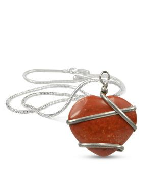 Red Jasper Heart Wire Wrapped Pendant With Silver Metal Polished Chain