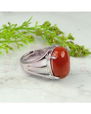 Red Jasper Gemstone German Silver Ring for Unisex (Color : Silver & Red)