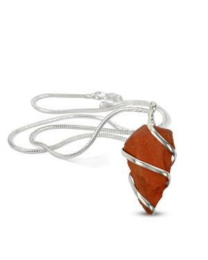 Red Jasper Natural Wire Wrapped Pendant with Silver Metal Polished Chain