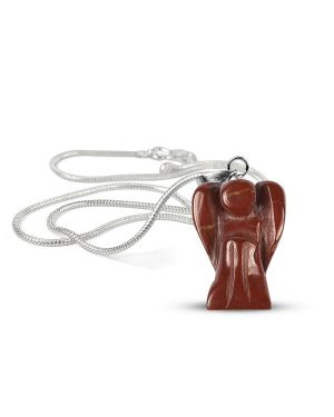 Red Jasper Angel Pendant With Silver Polished Metal Chain