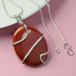 Red Jasper Oval Wire Wrapped Pendant with Silver Polished Chain