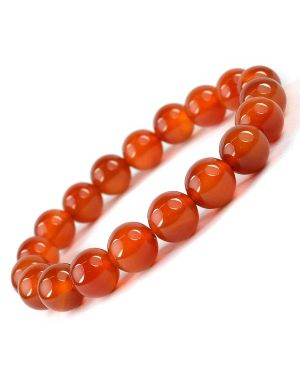 Red Onyx 10 mm Round Bead Bracelet