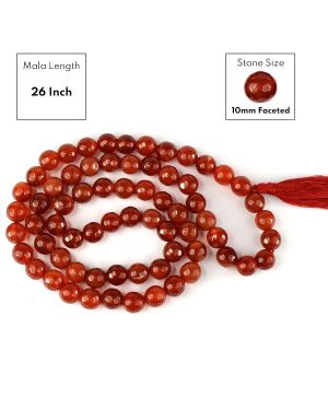 Red Onyx 10 mm Faceted Bead Mala
