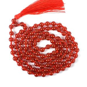 Red Onyx 8 mm Round Bead Mala & Necklace (108 Beads & 32 Inch Approx)