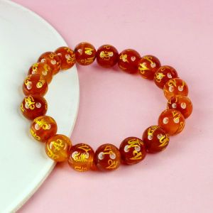 Red Onyx Om Mani Padme Hum Engraved 10 mm Beads Crystal Stone Bracelet
