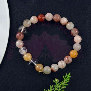 Red Rutile 8 mm Round Bead Bracelet