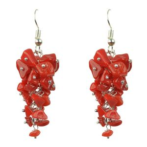 Red Stone Crystal Earrings Natural Chip Beads Earrings for Women, Girls (Color :Red)
