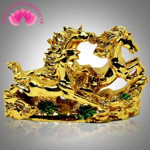 Three Golden Running Horses / Victory Horses for Vastu and Feng Shui